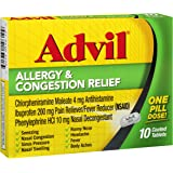 Advil Allergy & Congestion Relief Pain Reliever / Fever Reducer Coated Tablet, 200mg Ibuprofen, Antihistamine, Nasal Decongestant (10 Count) (Pack of 3)