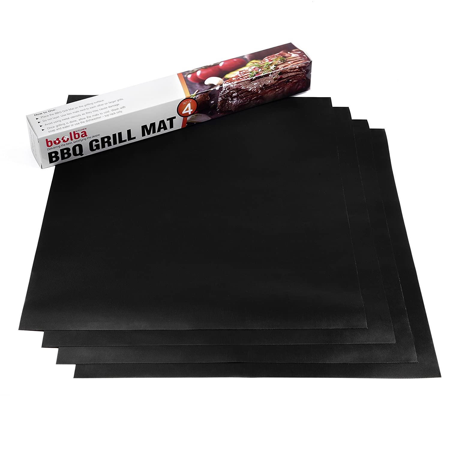 "Boolba Kitchen BBQ Grill Mat (Set of 4) | Great Baking Oven Liner | 100% Non Stick Reusable Easy To Clean | Perfect For Cooking Gas Electric Charcoal Grill Stove or Oven | Size 15.75"" x 13"""