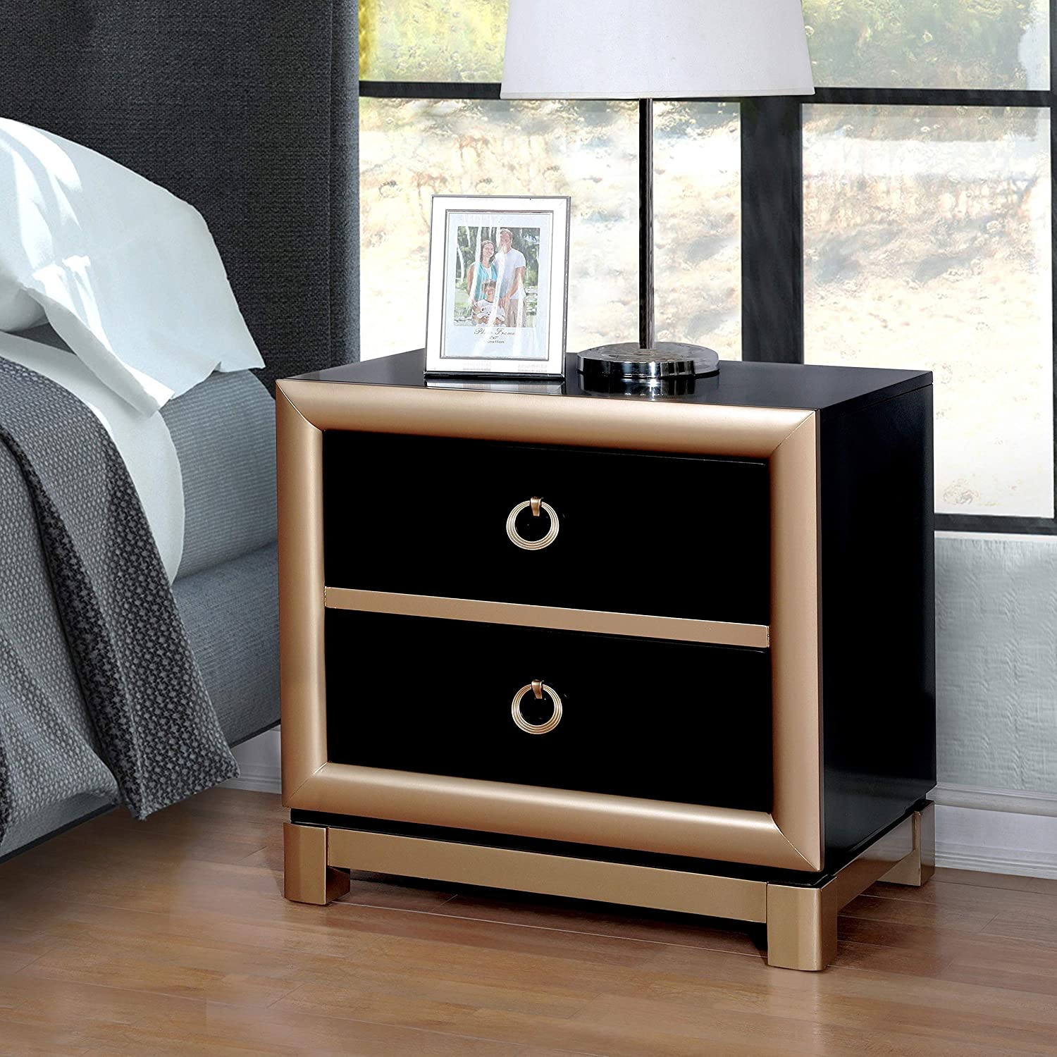 Amazon com furniture of america lopex contemporary two tone black gold 3 drawer nightstand kitchen dining