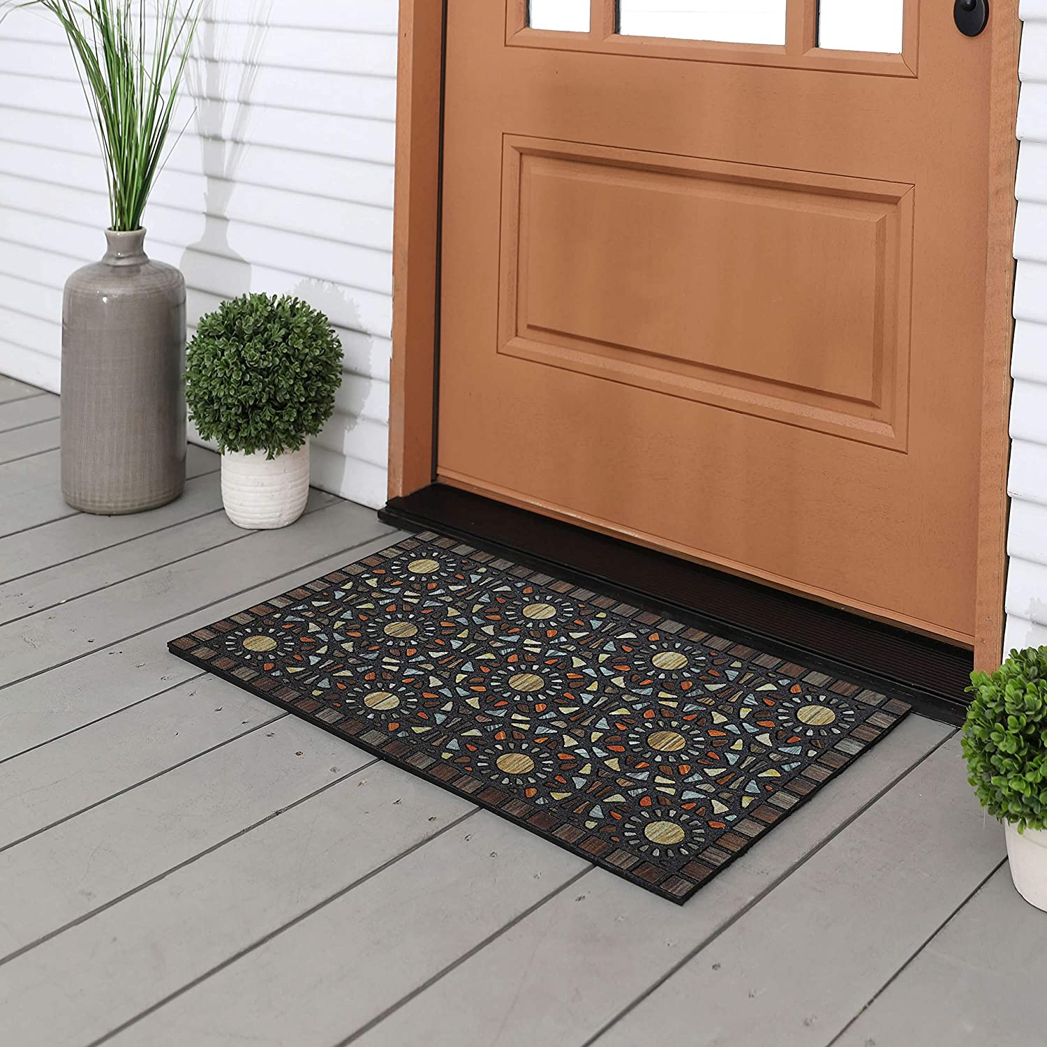 Mohawk Home 4925 18457 018030 EC Entranced Mosaic Grain Doormat, Brown