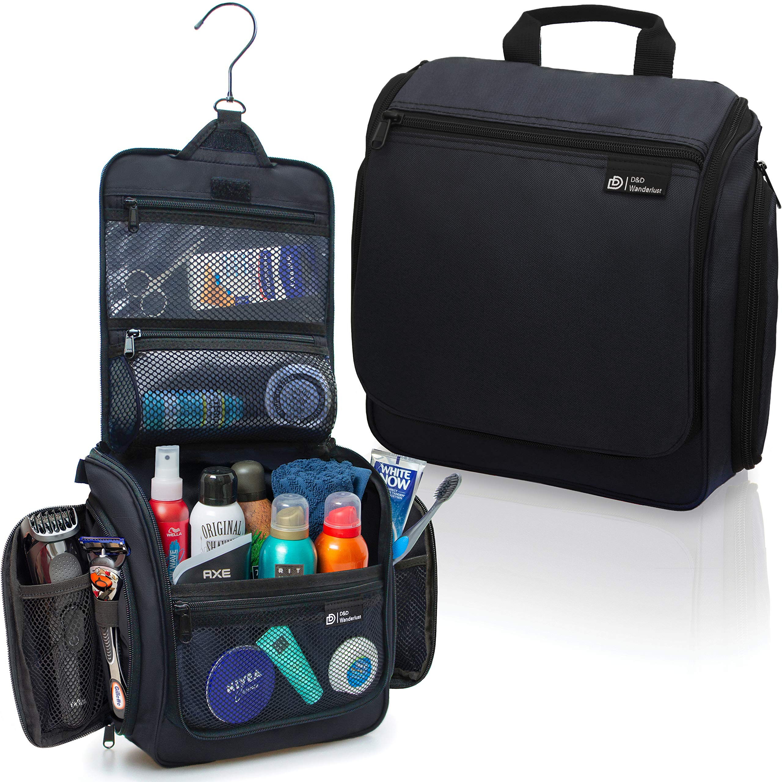 Hanging Travel Toiletry Bag for Men and Women - Large Cosmetics, Makeup and Toiletries Organizer Kit with 19 Compartments, YKK Zippers, XXL Metal Swivel Hook, Water-Resistant Nylon by DD D&D Wanderlust