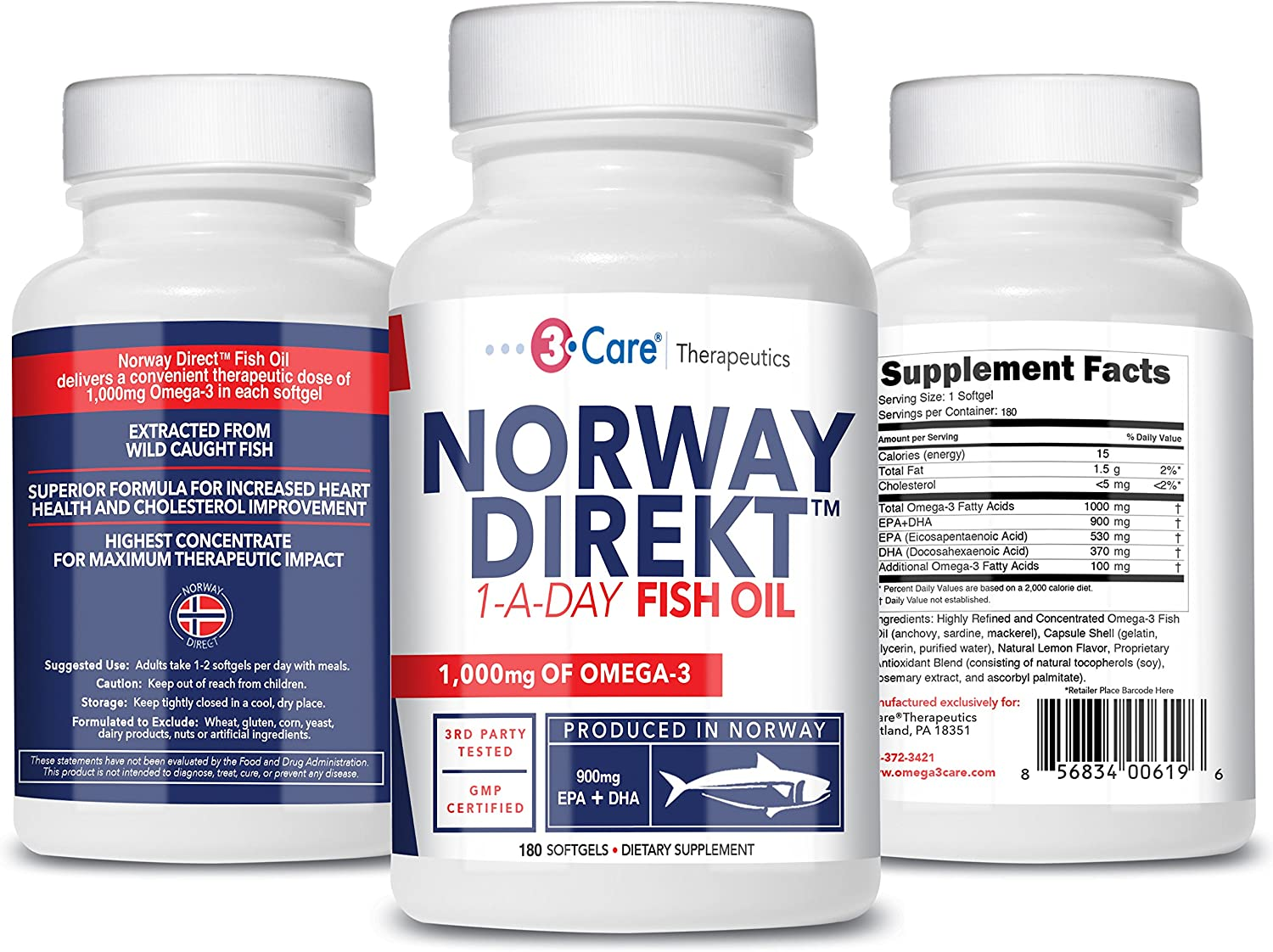 Norway Direkt Omega-3 Fish Oil 3,000mg Fish Oil Concentrate | 1060mg EPA, 740mg DHA (2 Soft-Gel Serving) Pharmaceutical Grade (180 Softgels)