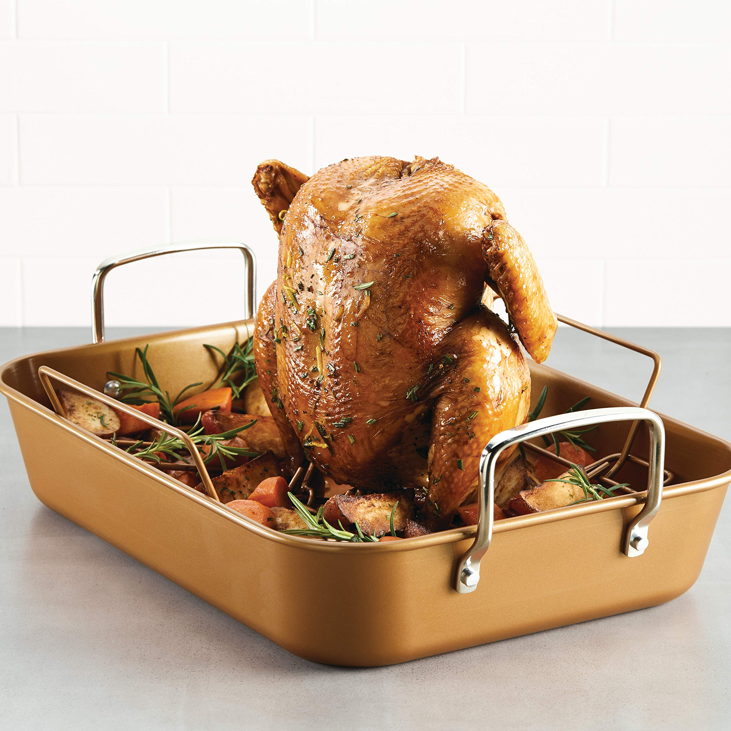 Ayesha Curry 47792 11'' x 15'' Rack Steel Roaster, 11 Inch x 15 Inch, Copper by Ayesha Curry Kitchenware (Image #6)