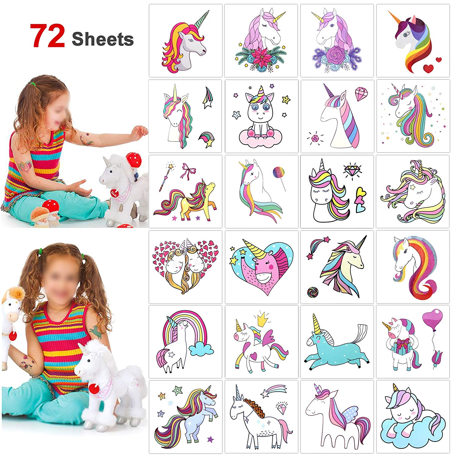 Unicorn Party Favors Temporary Tattoos Stickers(72Sheets), Konsait Funny Girls Boys Rainbow Unicorn Tattoos Great Kids Party Accessories Gifts for Unicorn Birthday Toddlers Baby Showers Supplies