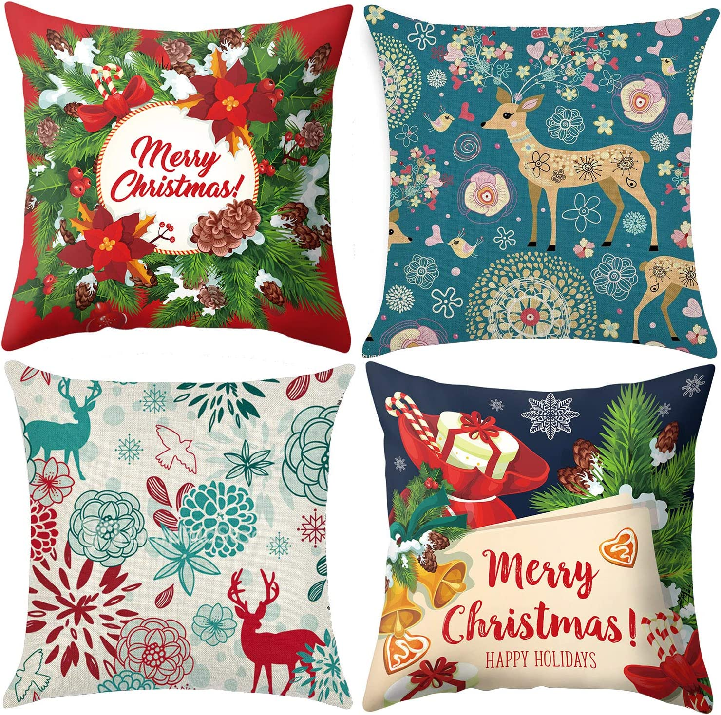 Colorful Christmas Pillow Covers