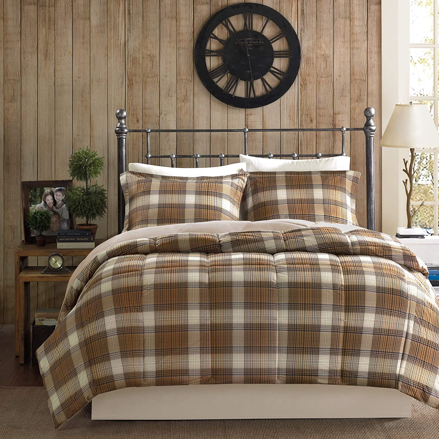 Woolrich Lumberjack King Size Bed Comforter Set - Brown, Khaki , Farmouse, Rustic Plaid – 3 Pieces Bedding Sets – Softspun Flannel Bedroom Comforters