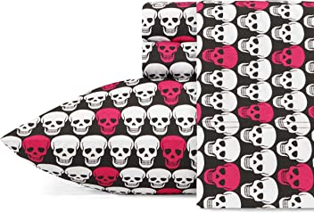 Betsey Johnson Skulls Sheet Set Queen Bright Pink