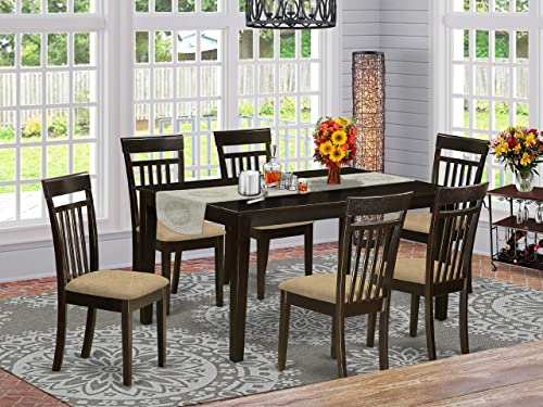 East West Furniture and 6 Chairs Dining Table, Microfiber Upholstered Seat, Cappuccino Finish