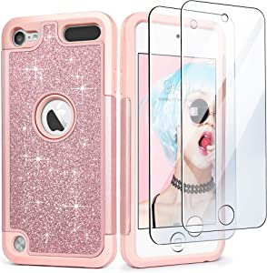iPod Touch 7 Case with 2 Screen Protectors, Glitter Bling Dual Layer Heavy Duty Impact Protective Phone Case for Apple iPod Touch 5/6/7th Generation for Girls Women, Pink Glitter