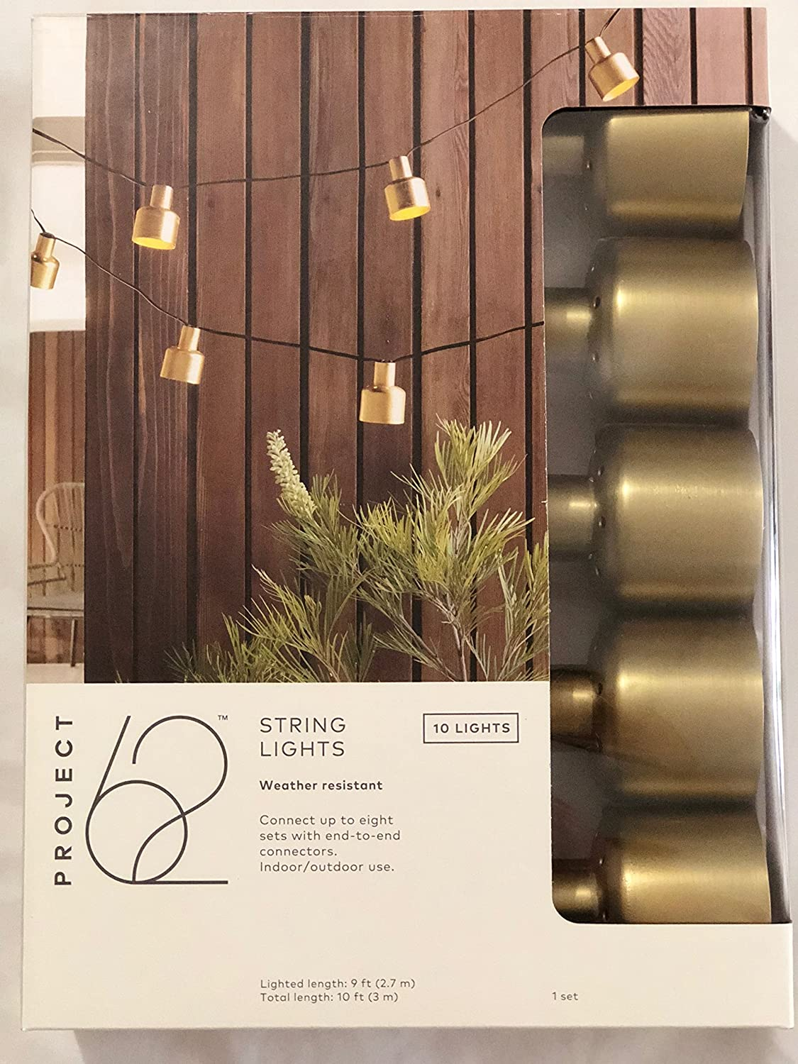 10ct Modern Outdoor Lantern 10' String Lights with Frosted G40s Project 62