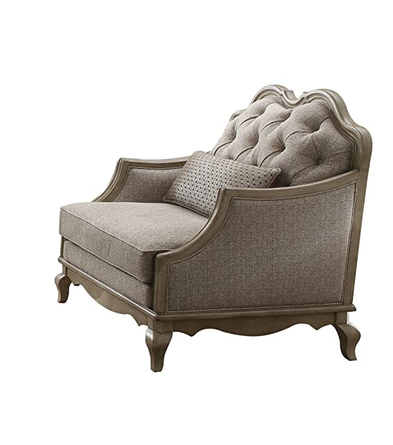 Acme Chelmsford Beige Fabric Chair With 1 Pillow by Acme Furniture