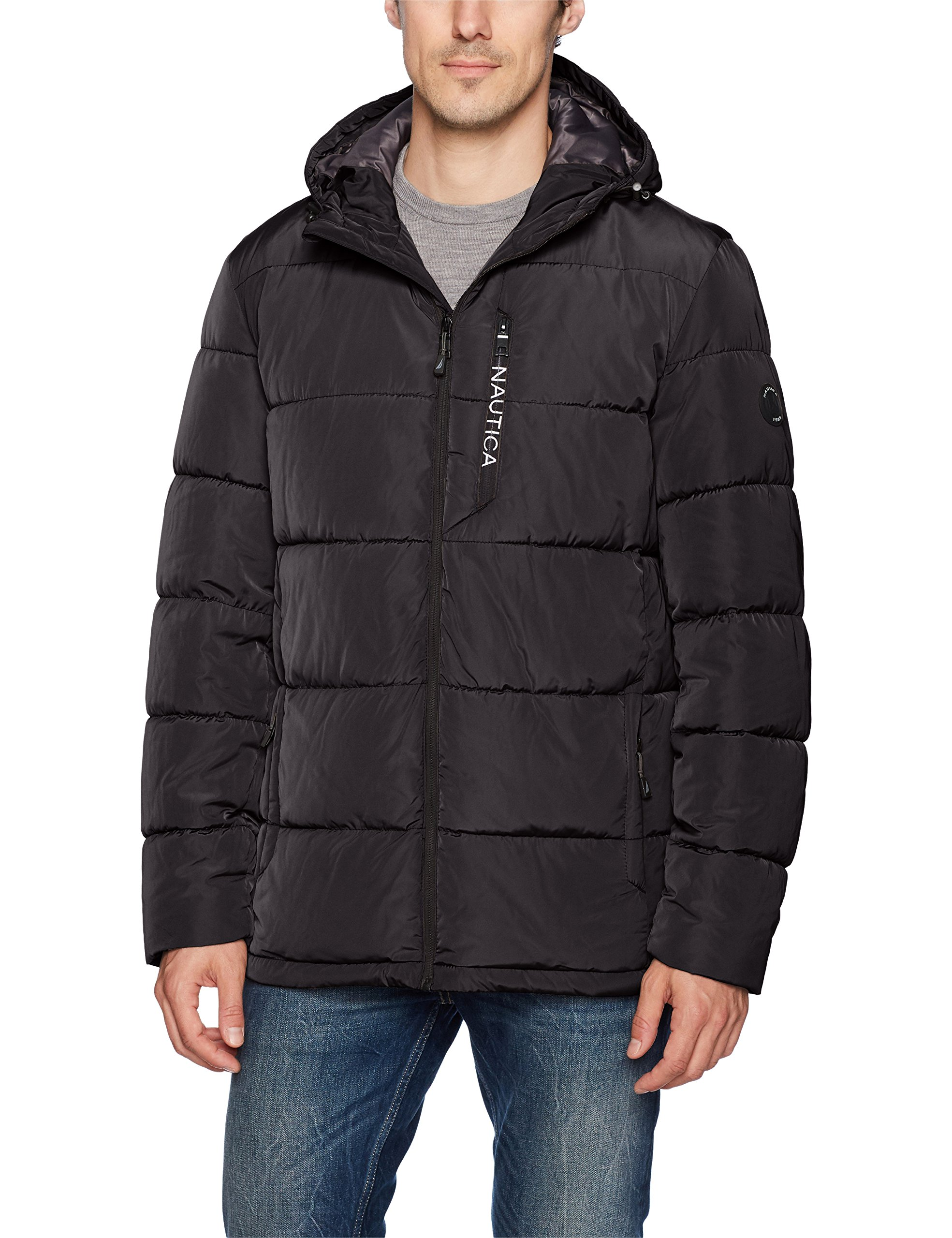 Nautica Men's Quilted Hooded Parka Jacket, Black, L by Nautica