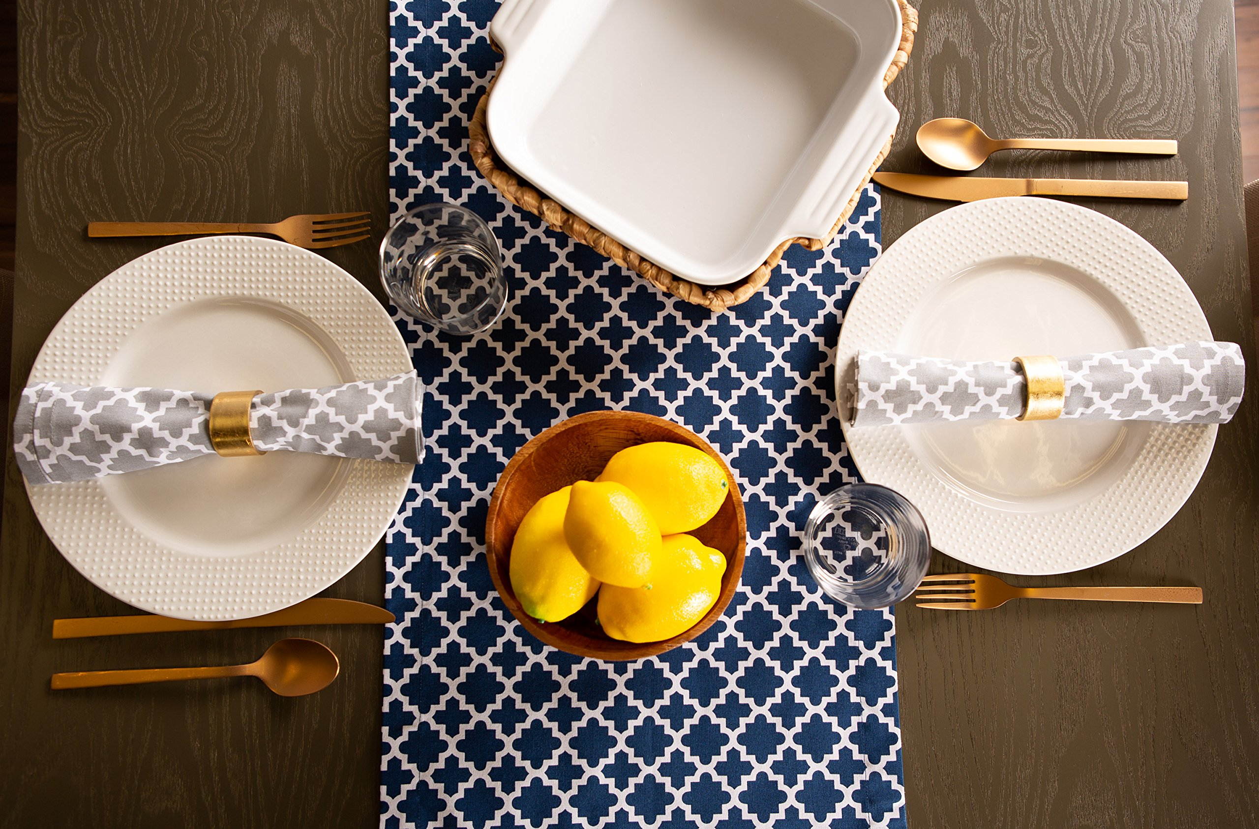 DII Lattice Cotton Table Runner for Dining Room, Foyer Table, Summer Parties and Everyday Use - 14x108'', Nautical Blue and White by DII (Image #6)