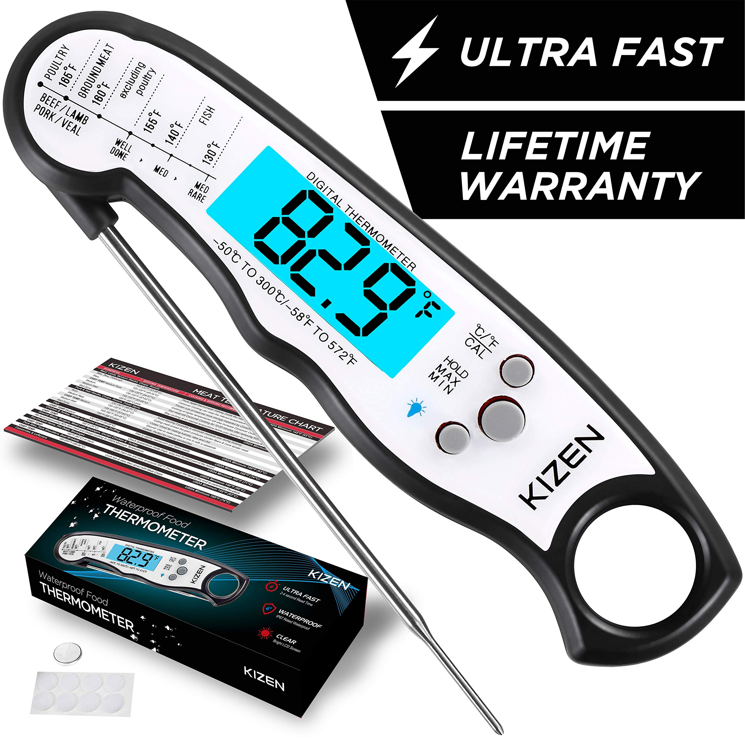 Kizen Instant Read Meat Thermometer - Best Waterproof Ultra Fast Thermometer with Backlight & Calibration. Kizen Digital Food Thermometer for Kitchen, Outdoor Cooking, BBQ, and Grill! by Kizen