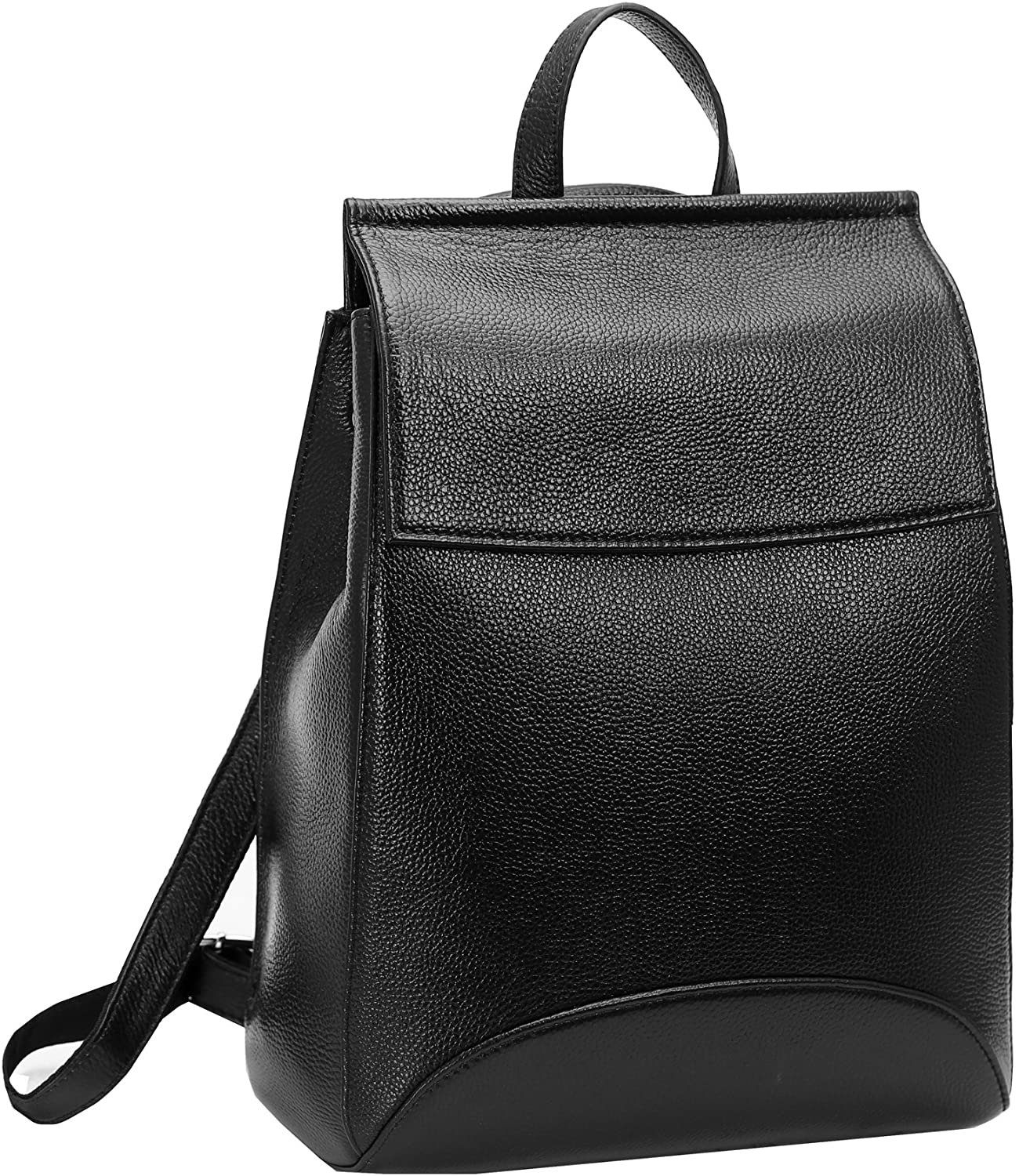 Heshe Womens Leather Backpack Casual Style Flap Backpacks Daypack for Ladies Black-R