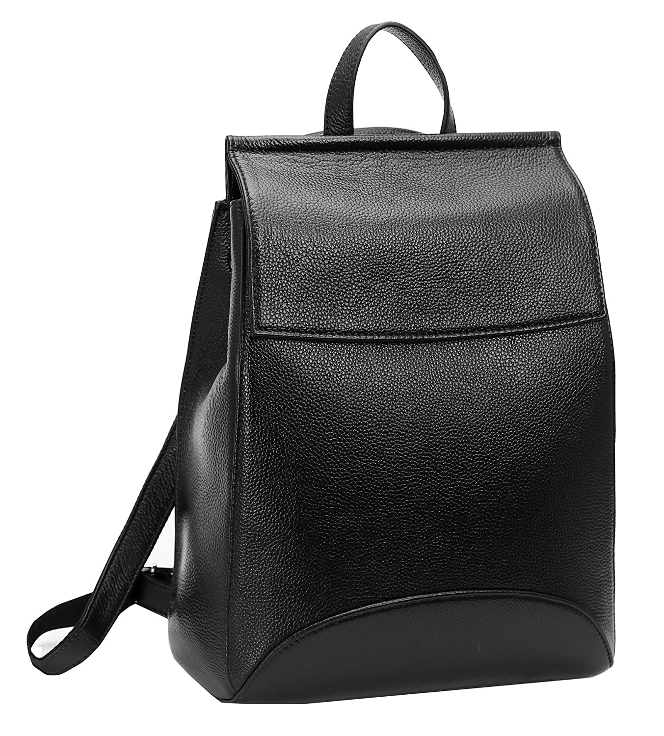 Amazon.com  Heshe Womens Leather Backpack Casual Style Flap Backpacks  Daypack for Ladies (Black-R)  HESHE 8f4337e03c1a4