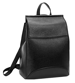 c2e9dc6726 Amazon.com  Heshe Womens Leather Backpack Casual Style Flap Backpacks  Daypack for Ladies (Black-R)  HESHE