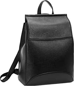 Heshe Womens Leather Backpack Casual Style Flap Backpacks Daypack for Ladies (Black-R)