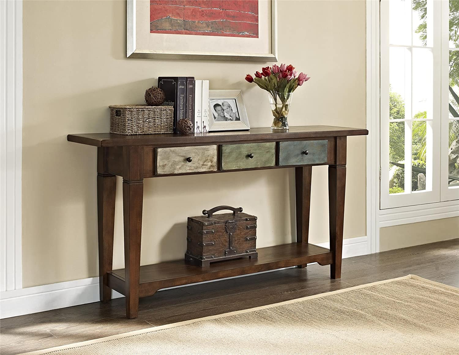 amazoncom altra sage console table with drawers rustic kitchen u0026 dining