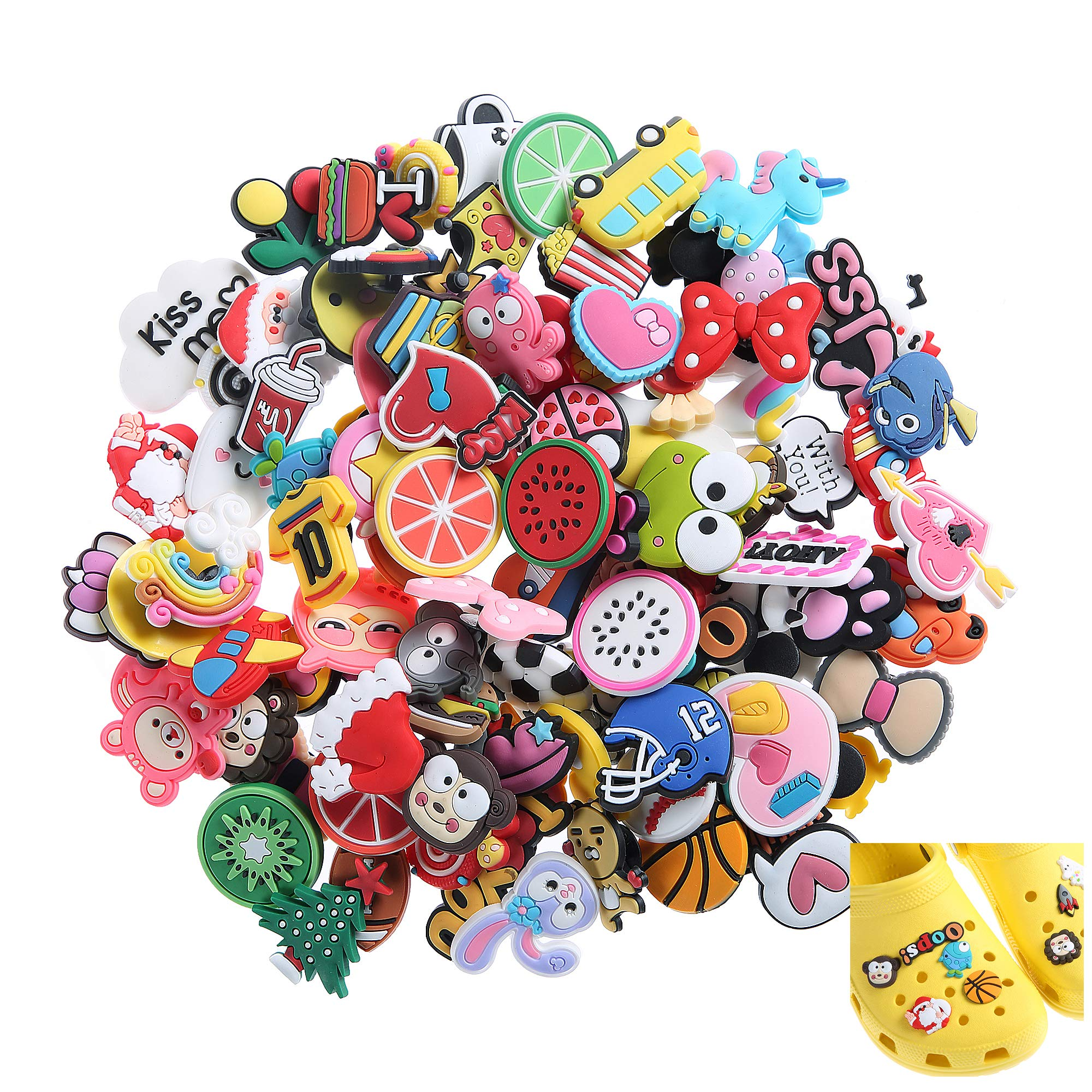 Felice Arts 100pcs Different Shape Jibbitz Shoes Charms Fits for Croc Clog Shoes & Wristband Bracelet Party Gifts by Felice Arts