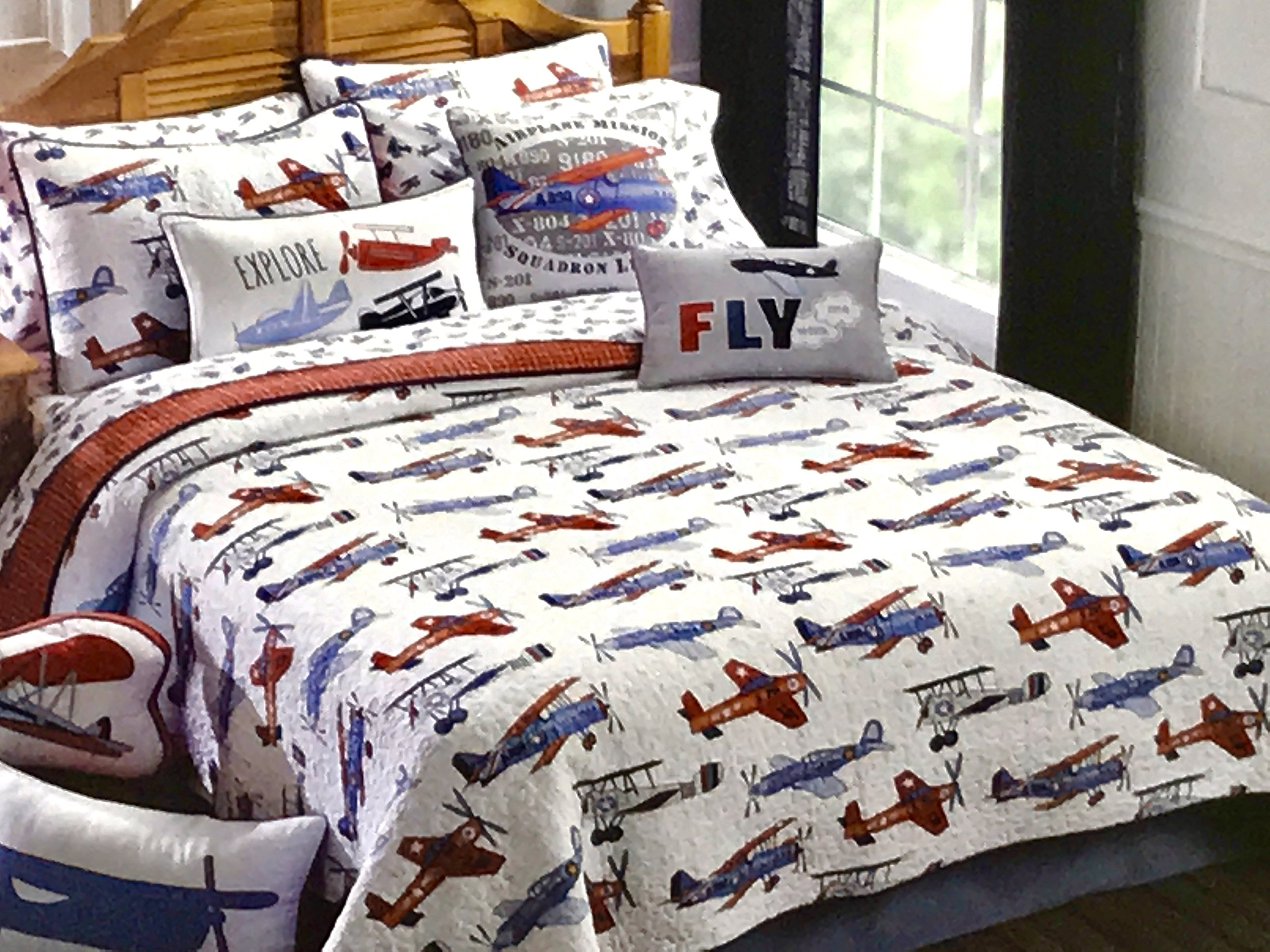 KIDS Full /Queen AIRPLANES QUILT SET (Set Includes: 2 shams) bi-plane airplane plane