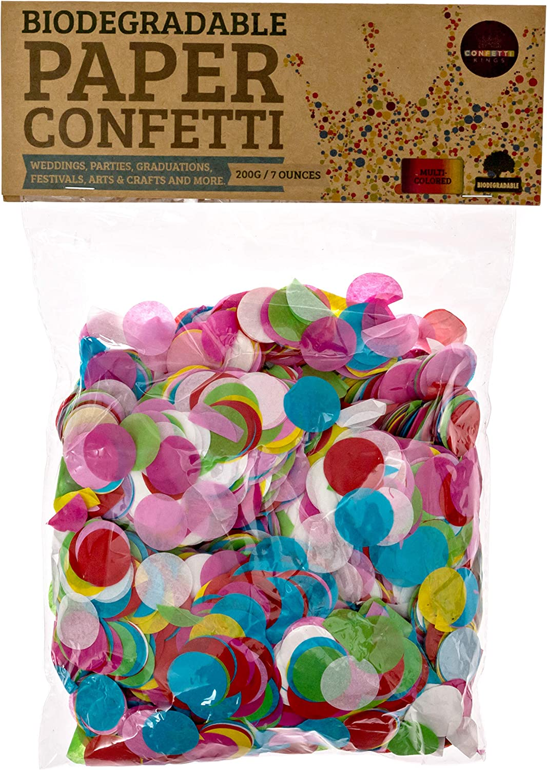 Confetti Kings - Confeti de papel redondo, biodegradable, alta ...