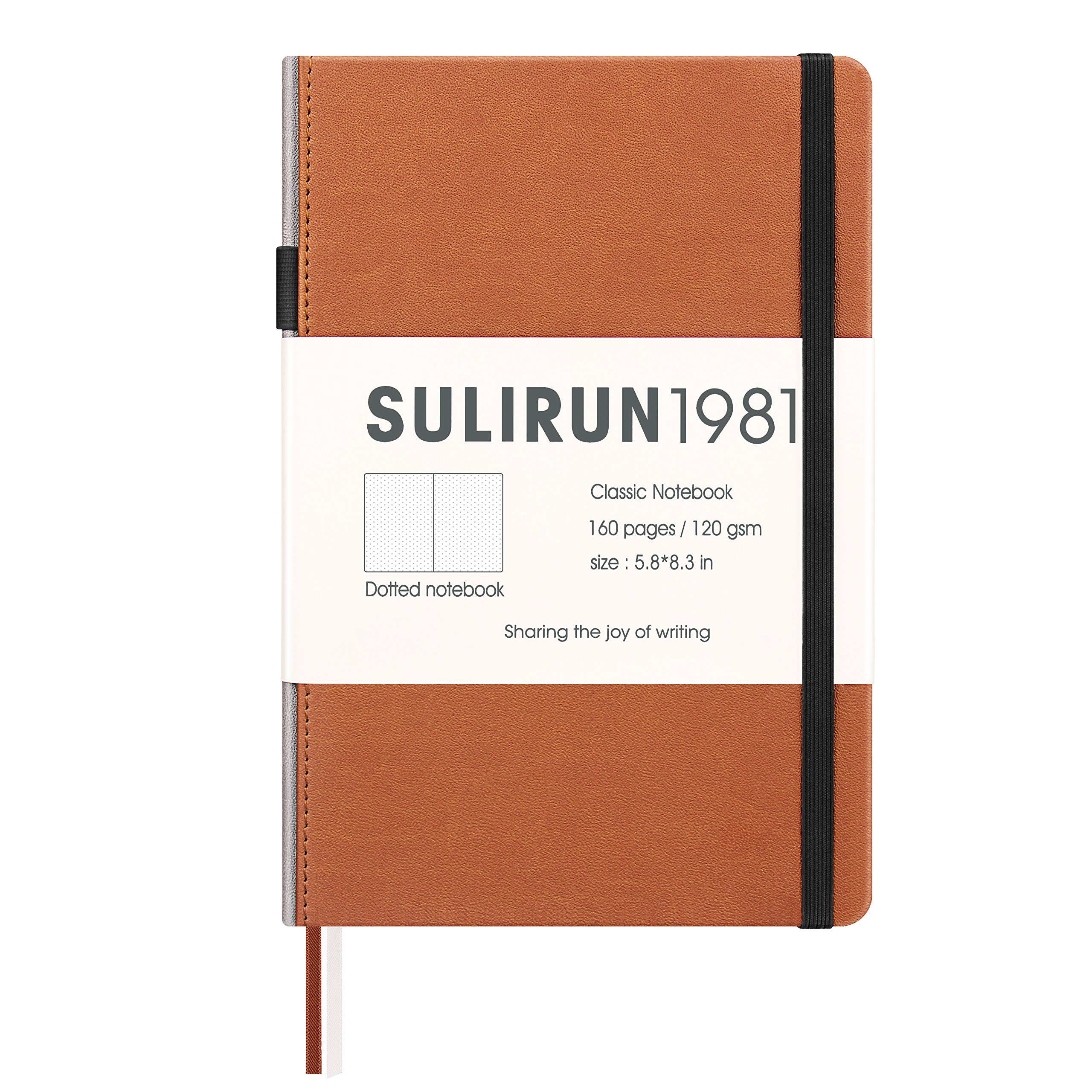SULIRUN 1981 Notebook, A5 Hardcover Dot Grid Notebook with Pen Loop, Premium Thick Paper -120 gsm,Bullet Journal (light brown)