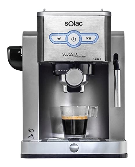 Solac New Squissita Intelligent-Cafetera (19 Bar de presión, Control electrónico, Bandeja calienta Tazas), Plata, 0 Decibeles