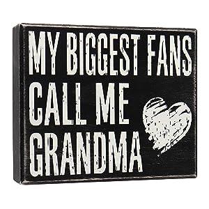JennyGems - My Biggest Fans Call Me Grandma - Stand Up Wood Box Sign - Gifts for Grandma, Grandma Plaque, Grandma Gift, Mother's Day, Shelf Knick Knacks