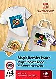 Iron on Transfer Paper for Light Fabric (T-Shirt Transfer Paper) by Raimarket | 5 Sheets | A4 Inkjet Iron On Transfer Paper | DIY Fabric Printing, Unleash Your Creativity (L5)