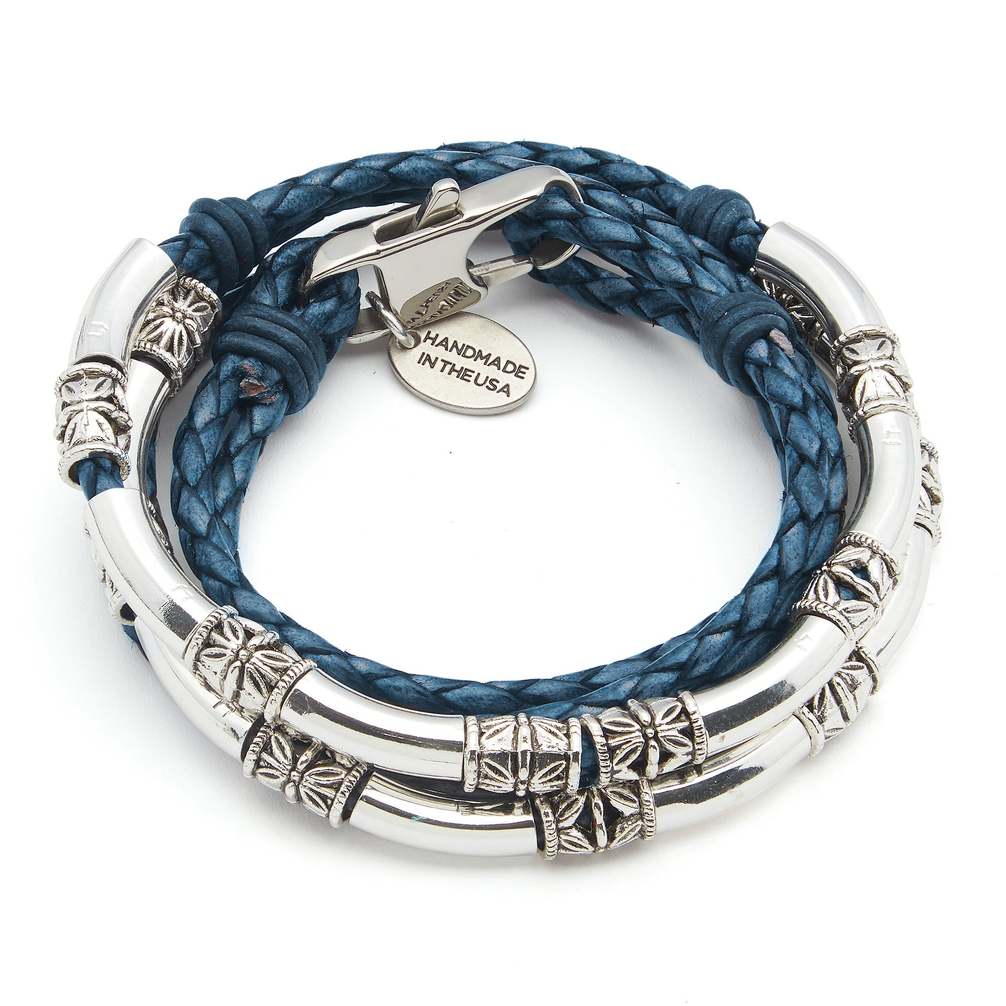 Lizzy James Mini Maxi Silver Plated Braided Leather Wrap Bracelet in Natural Blue Leather (Medium)