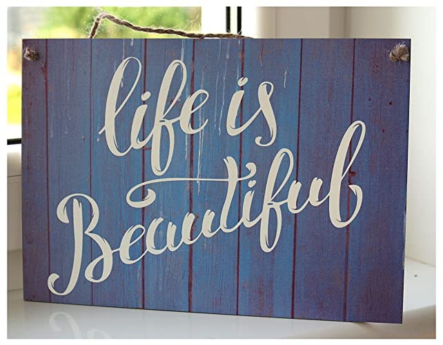 LIFE IS BEAUTIFUL Inspirational Quote Plaque   Home Decor,wall Plaque,hanging  Wood Sign