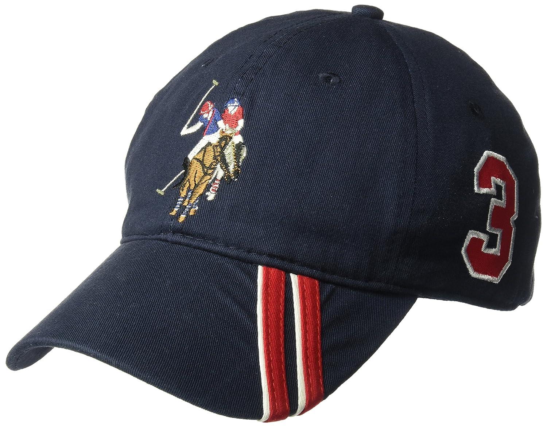 U.S. Polo Assn. Mens Polo Horse Baseball Cap, Diagonal Stripe Applique Visor, Black One Size at Amazon Mens Clothing store:
