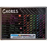 "Family Size Multi Use Magnetic Dry Erase Board Chore Responsibility Chart Menu Planner To Do Fluorescent Calendar 12""x17"""
