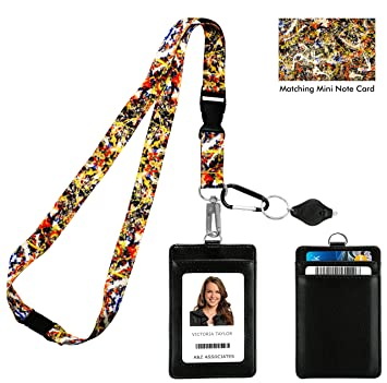 Jackson Pollock Convergence Correa para el cuello del acollador con cartera de ID de cuero de la PU Monedero con 3 bolsillos para tarjetas, clip de ...