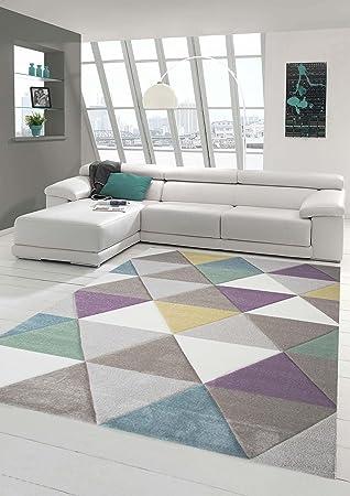 Traum Teppich Designerteppich Moderner Teppich für Wohnzimmer Kurzflor  Teppich mit Konturenschnitt Dreieck in Lila Beige Grau, Größe 160x230 cm