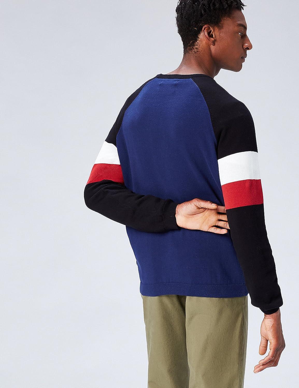 FIND Pullover Scollo Rotondo con Colori a Contrasto Uomo
