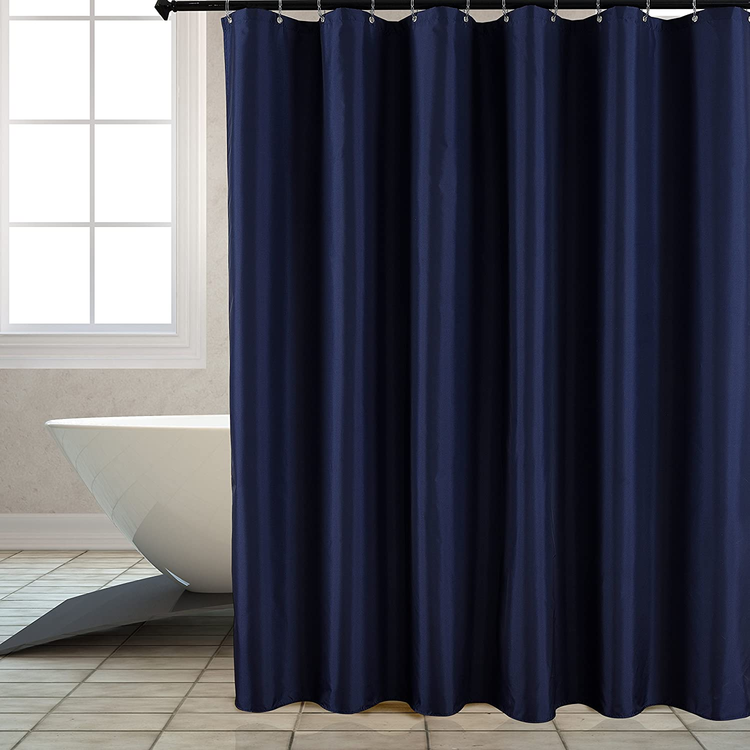 Amazon Biscaynebay Fabric Shower Curtain Liner Water Resistant Bathroom 72 X72 Navy Home Kitchen