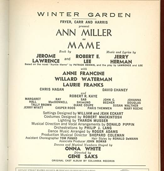 Mame, Broadway Playbill + Ann Miller, Anne Francine, Willard Waterman, Laurie Franks, Chris Hagan, David Chaney, Robert Kaye, Margaret Hall, Ray MacDonnell ...