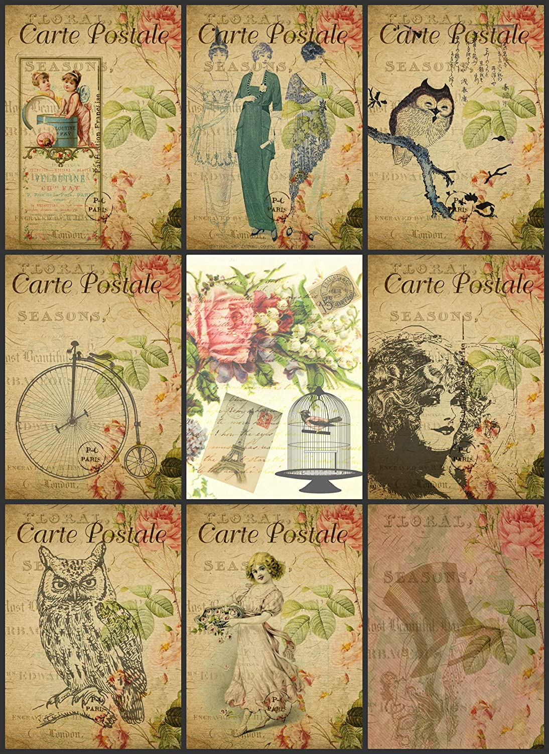 Vintage Printed French Reproduction Post Cards Collage Sheet #104 Scrapbooking, Decoupage, Labels Paper Moon Media