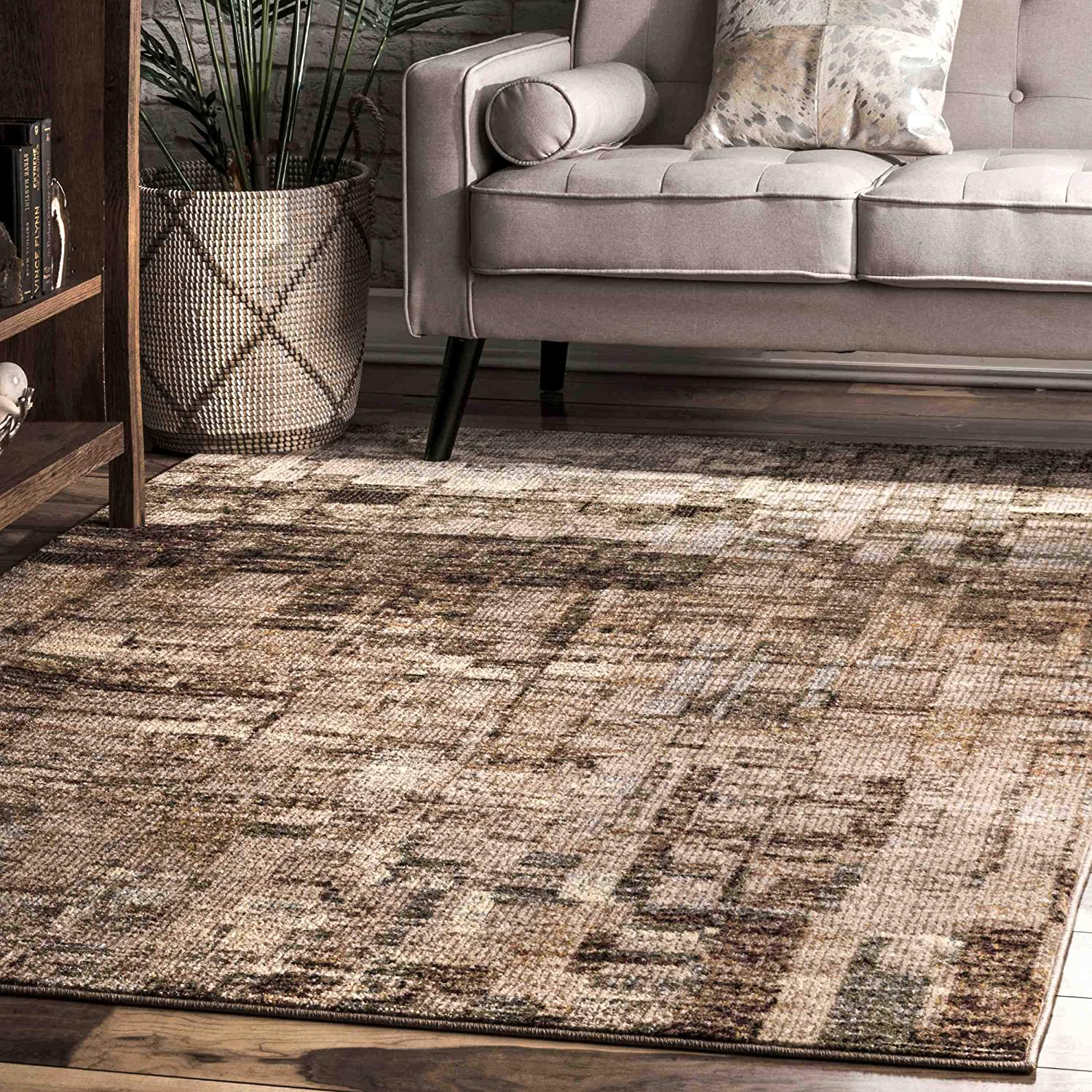 Amazon Com Nuloom Lilly Abstract Area Rug 8 10 X 12 Brown Furniture Decor