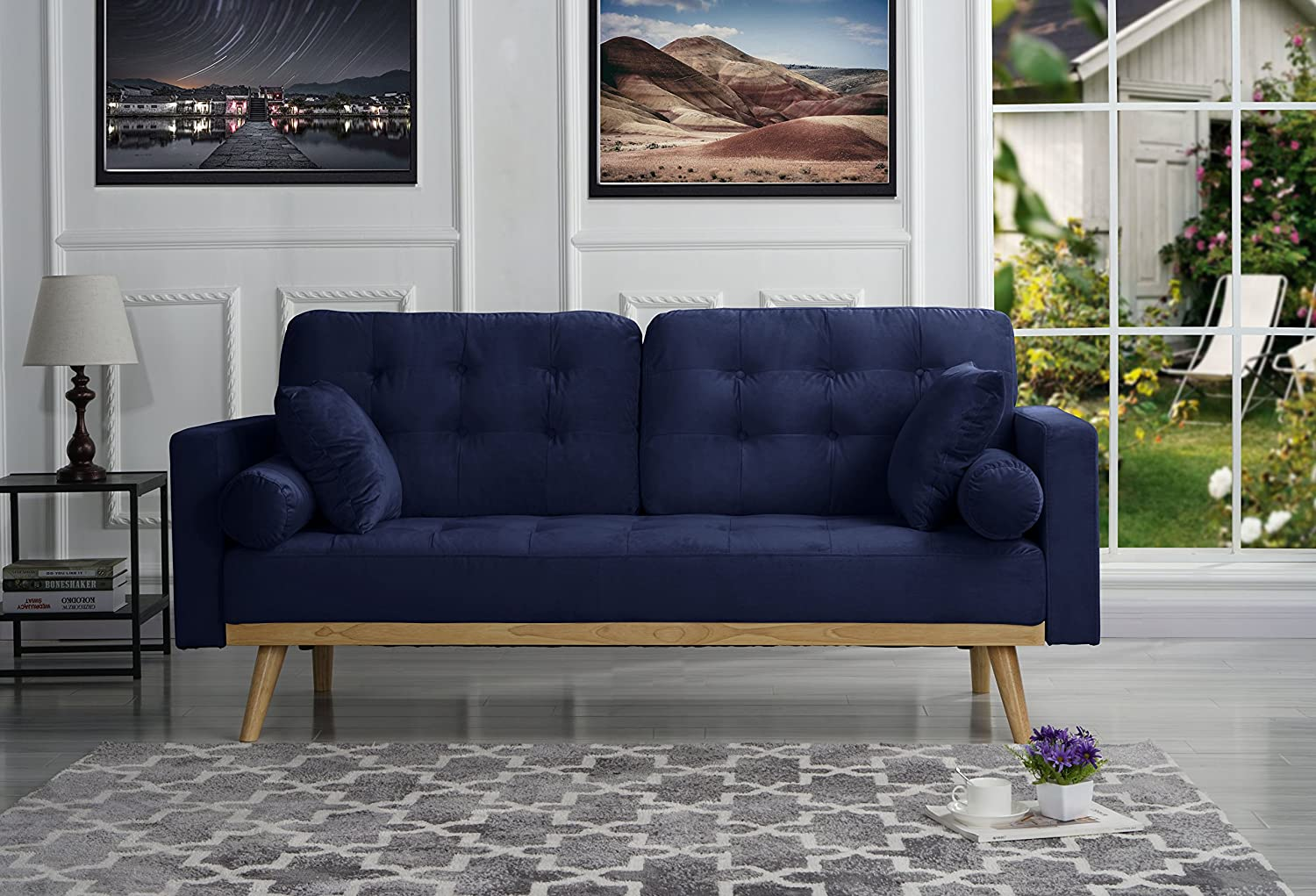 Amazing Mid Century Modern Tufted Velvet Fabric Sofa Navy Home Interior And Landscaping Dextoversignezvosmurscom