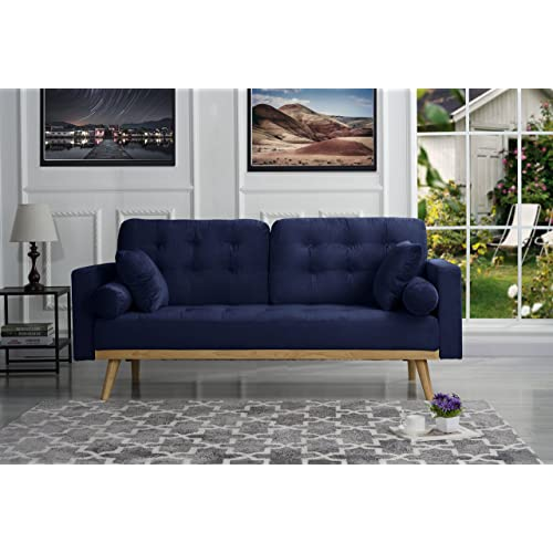 Mid-Century Modern Tufted Velvet Fabric Sofa (Navy)