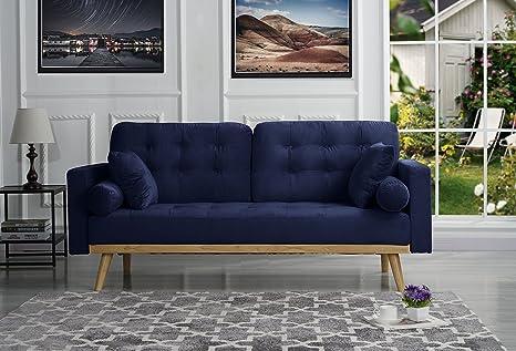 Mid-Century Modern Tufted Velvet Fabric Sofa (Navy)
