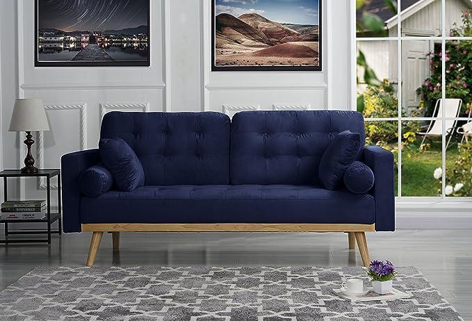 Mid Century Modern Tufted Velvet Fabric Sofa (Navy) by Sofamania