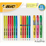 BIC Highlighter Pens Student Bulk Pack - Assorted Colours Pack of 15 Highlighters