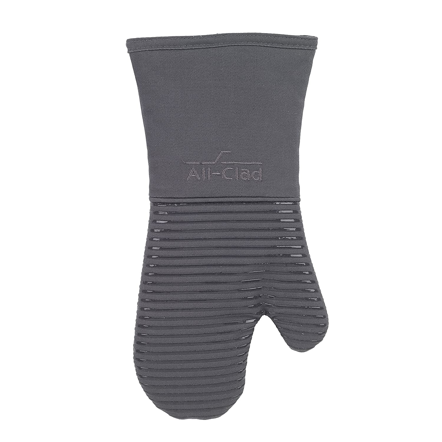 All Clad Textiles Deluxe Heat and Stain Resistant Oven Mitt. Made of Silicone Treated Heavyweight 100-Percent Cotton Twill, Machine Washable, 14 x 6.5 Inches, Pewter Grey