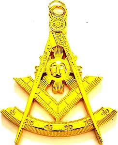 "Masonic Collar Jewel Worshipful Master Gold Plated Large 4/"" Made by DEURA USA"