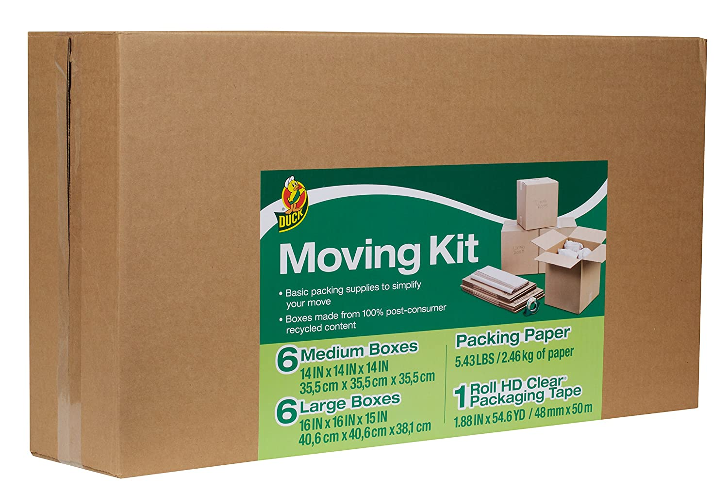duck brand moving kit with 12 boxes 120 sheets packing paper 1