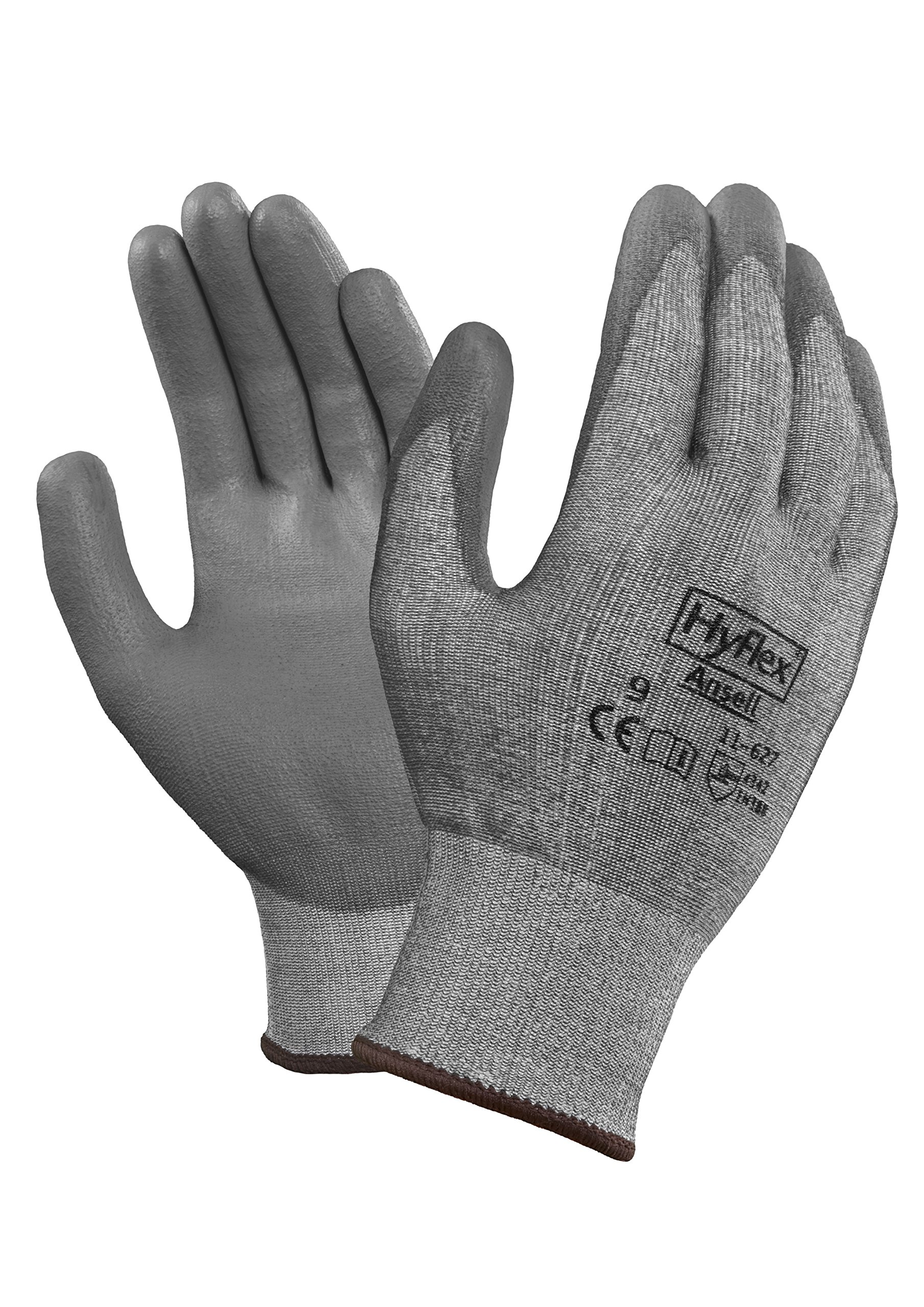 Ansell HyFlex 11-627 Lycra Light Duty Safety Glove with DSM Dyneema Technology, Abrasion/Cut Resistant, Size 9, Gray (Pack of 12 Pair) by Ansell (Image #1)